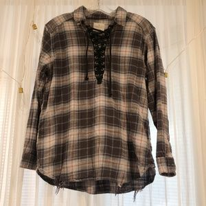 Lace Up Neck Long Sleeve Flannel